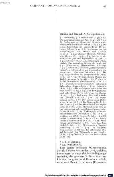 Omina und Orakel :A. Mesopotamien