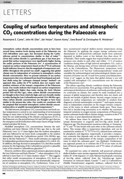 Coupling of surface temperature and atmospheric CO2 concentrations during the Paleozoic era