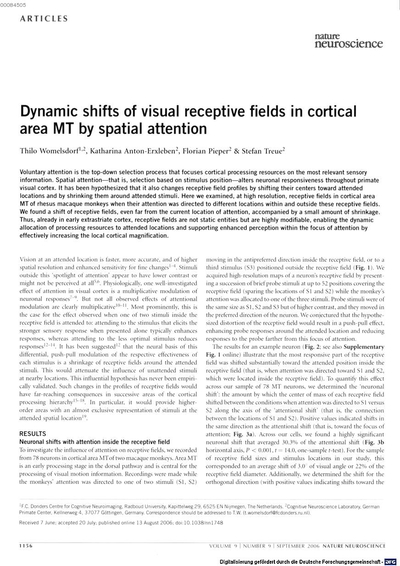 Dynamic shifts of visual receptive fields in cortical area MT by spatial attention