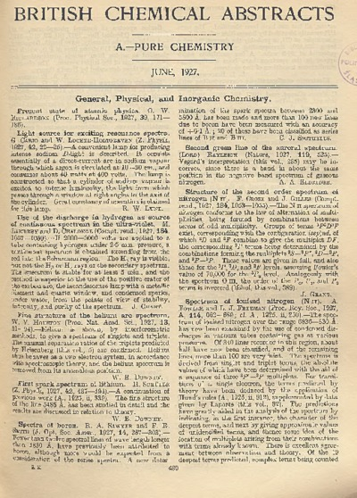 British Chemical Abstracts. A. Pure Chemistry, June