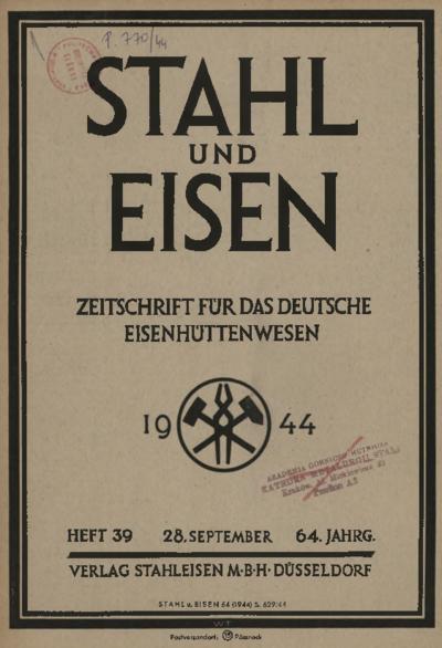 Stahl und Eisen, Jg. 64, Heft 39