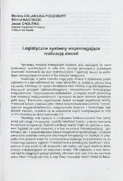 Logistyczne systemy wspomagające realizację zleceń