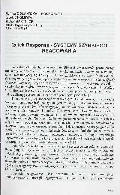 Quick Response - systemy szybkiego reagowania