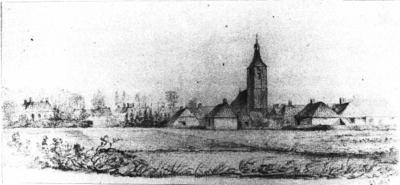 Het Dorp Apeldoorn, anno 1842, gezien vanuit het westen, met de Mariakerk aan de Dorpstraat. Het is een reproductie naar een tekening van Arie nieman.