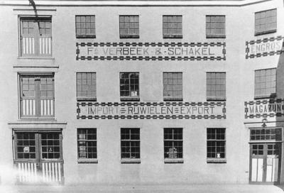 Overzicht van het magazijn van Verbeek & Schakel, de latere Sparta Fabriek.