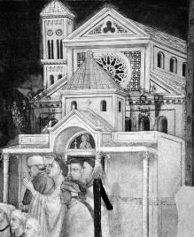 Ausmalung des Nordquerhauses — Franziskusszenen — Erweckung des Sohnes eines Notars