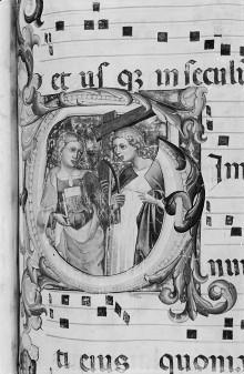 Graduale und Commune Sanctorum — Historisierte Initiale T: Zwei heilige Märtyrerinnen, Folio 115
