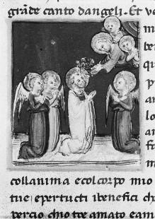 Heiligenlegenden — Petrus wird von Christus mit Blumen bekrönt, Folio 31verso