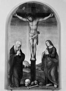 Christus am Kreuz mit Maria und Johannes dem Täufer