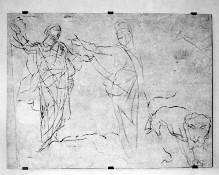 Sinopien zum Deckenfresko Triumph der Venus im Palazzo Orlandini — Figurenstudie zum Deckenbild Triumph der Venus