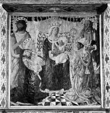 Altarbild — Madonna mit Kind und den Heiligen Johannes dem Täufer, Laurenzius, Markus und Nikolaus