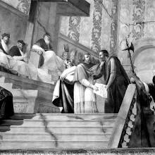 Historische Begebenheit aus der Familie Gherardesca: Audienzszene vor einem Papst