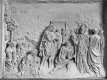 Arca di San Lanfranco — Szenen aus dem Leben des Heiligen Lanfranco — Die Rückkehr des Heiligen aus dem Exil nach Pavia