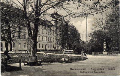 Hermannstadt - Nagyszeben - Sibiiu. Stadtpark mit Sanatorium