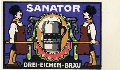 Gruss vom Sanatoranstich der Drei - Eichen - Braurei Hermannstadt