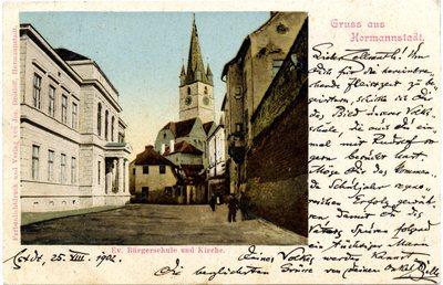 Gruss aus Hermannstadt. Evangelische Burgerschule und Kirche