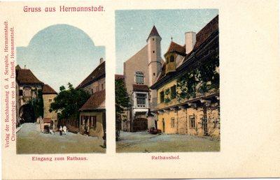 Gruss aus Hermannstadt. Eingang zum Rathaus. Rathaushof