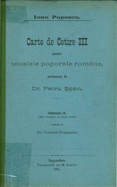 Carte de Cetire III pentru scoalele poporale romane