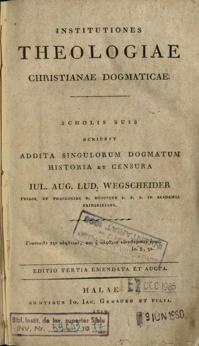 Institutiones Theologiae Christianae Dogmaticae
