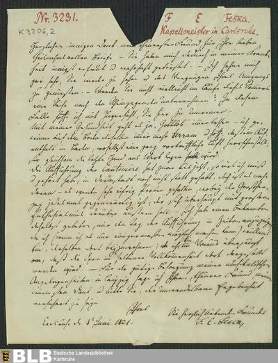 Brief von Friedrich Ernst Fesca an Wilhelm Heinrichshofen vom 03.06.1821 - K 3206,2