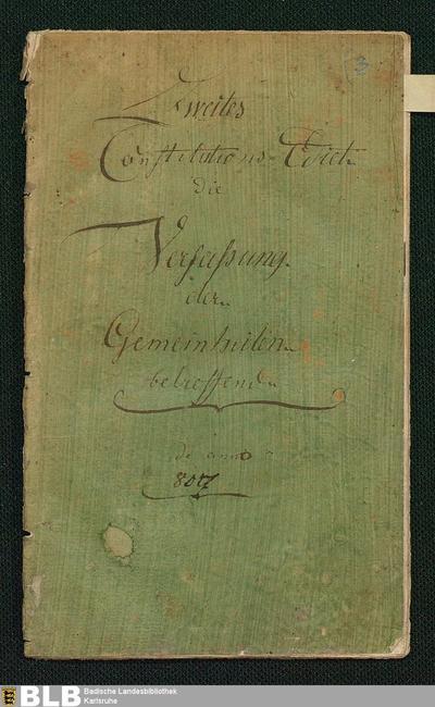 Über die Verfassung der Gemeinheiten, Körperschaften und Staats-Anstalten betreffend (Constitutions-Edict, 2)
