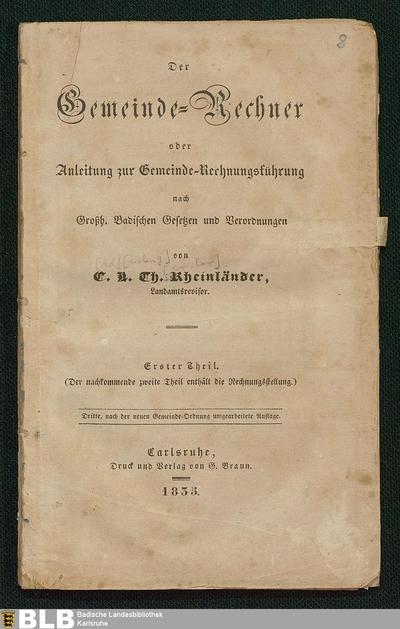 Gemeinde-Rechner oder Anleitung zur Gemeinde-Rechnungsführung (1)