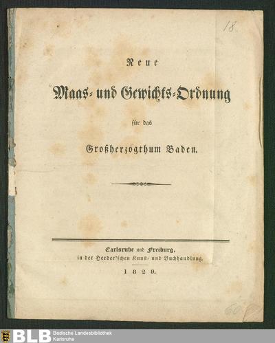 Neue Maas- und Gewichts-Ordnung für das Großherzogthum Baden
