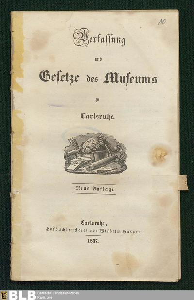 Verfassung und Gesetze des Museums zu Carlsruhe