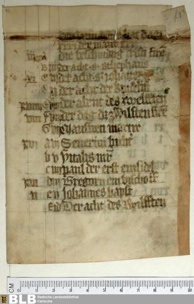 Deutscher Kalender, Fragment - Aug. Fr. 92