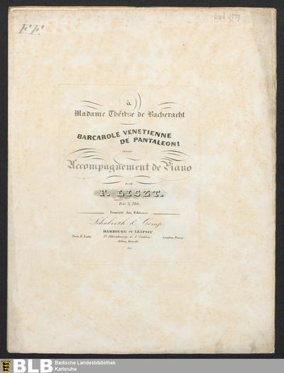 Barcarole Venetienne de Pantaleoni : avec accompagnement de piano