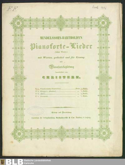 Venetianisches Gondellied (Mendelssohn-Bartholdy's Pianoforte-Lieder (ohne Worte), 1)