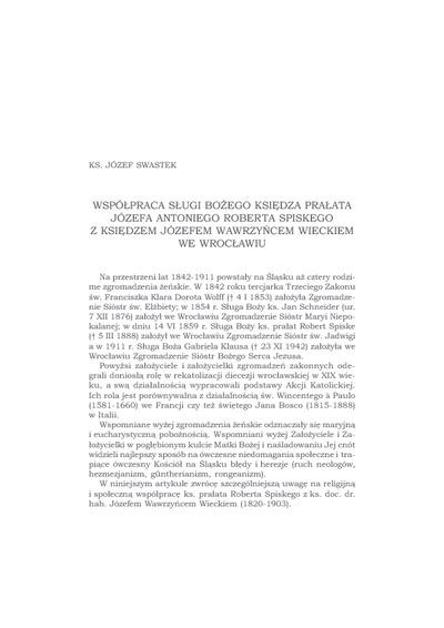 Współpraca Sługi Bożego księdza prałata Józefa Antoniego Roberta Spiskego z księdzem Józefem Wawrzyńcem Wieckiem we Wrocławiu