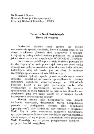 Tezaurus Nauk Kościelnych - słowo od wydawcy