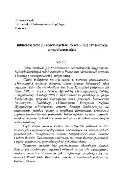 Biblioteki uczelni kościelnych w Polsce - między tradycją a współczesnością