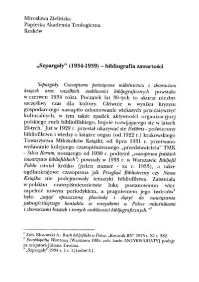 """""""Szpargały"""" (1934-1939) - bibliografia zawartości"""