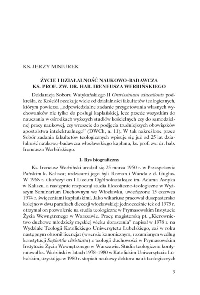 Życie i działalność naukowo-badawcza ks. prof. zw. dr. hab.Ireneusza Werbińskiego