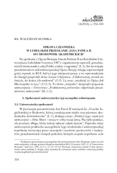Sprawa człowieka w lubelskim przesłaniu Jana Pawła II do środowisk akademickich