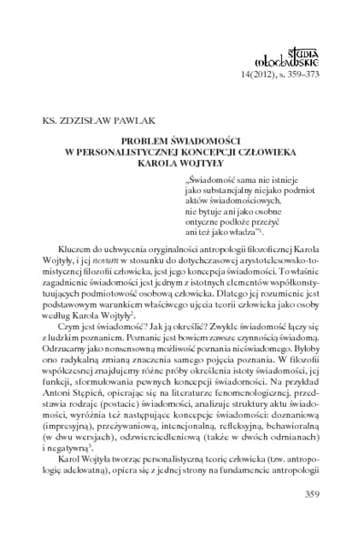 Problem świadomości w personalistycznej koncepcji człowieka Karola Wojtyły