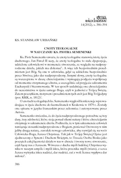 Cnoty teologalne w nauczaniu ks. Piotra Semenenki