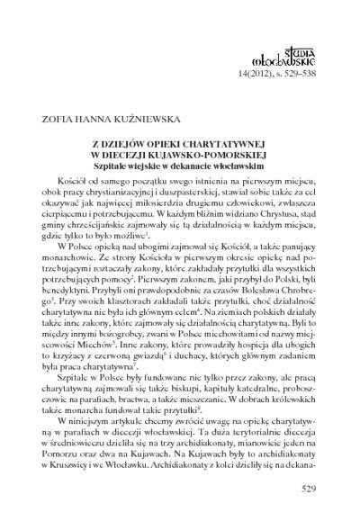 Z dziejów opieki charytatywnej w diecezji kujawsko-pomorskiej. Szpitale wiejskie w dekanacie włocławskim