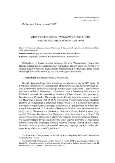 Więzi stolicy Polski – Warszawy z Jasną Górą pielgrzymkami znaczone (1918-1939)