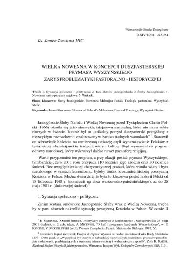 Wielka Nowenna w koncepcji duszpasterskiej Prymasa Wyszyńskiego : zarys problematyki pastoralno-historycznej