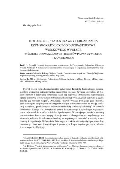 Utworzenie, status prawny i organizacja rzymskokatolickiego duszpasterstwa wojskowego w Polsce w świetle obowiązujących przepisów prawa cywilnego i kanonicznego