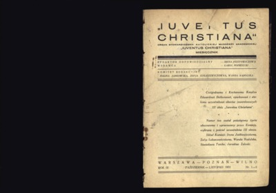 Iuventus Christiana : organ Stowarzyszenia Młodzieży Akademickiej Iuventus Christiana. R. 4 (1932), nr 1-2