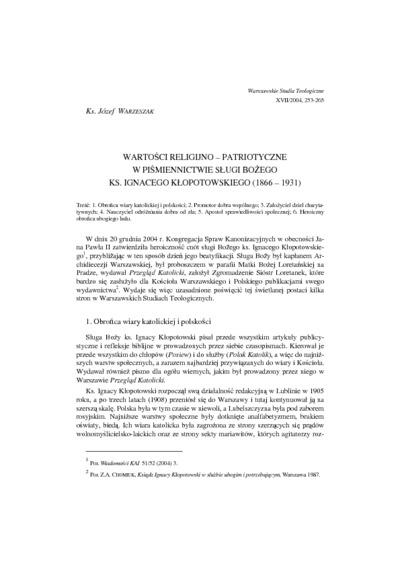 Wartości religijno-patriotyczne w piśmiennictwie Sługi Bożego ks. Ignacego Kłopotowskiego (1866-1931)