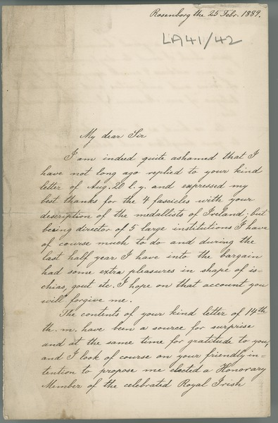 [Letter from [C. T. ?] Herbst (Rosenborg) to William Frazer, thanking him for his intention to propose Herbst for honorary membership of the Royal Irish Academy; also encloses descriptions of finds of coins and antiquities, and a catalogue of