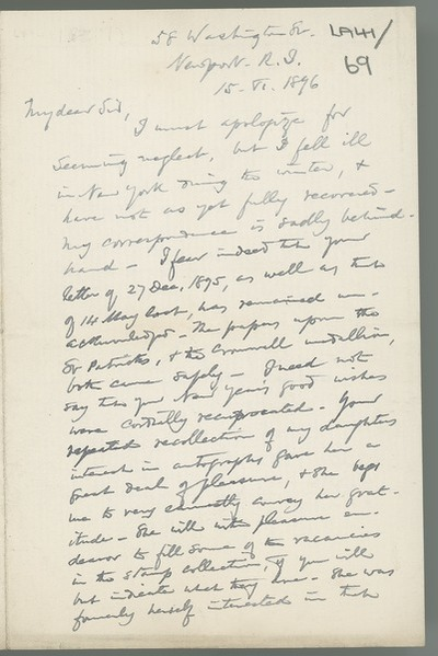 [Letter from Horatio Robinson Storer (Newport, Rhode Island) to William Frazer, informing him that the papers on the St. Patrick's and Cromwell medallions have arrived; and that he has proposed Frazer for honorary membership of the American Numismatic & Archaeological Society of New York.]
