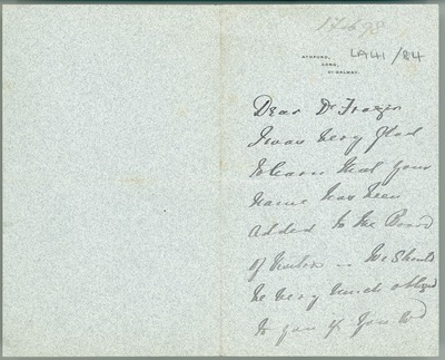 [Letter from Baron Ardilaun (Ashford, Cong, County Galway) to William Frazer, enquiring whether Frazer can undertake the report on Economic Botany.]