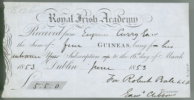 [Receipt from the Royal Irish Academy for an entrance subscription paid by Eugene O'Curry.]