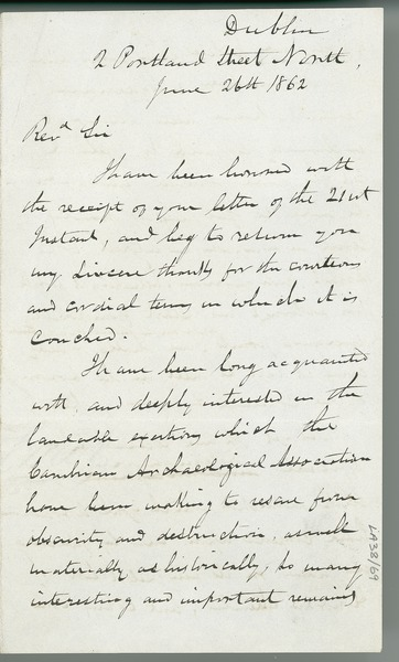 [Draft letter from Eugene O'Curry to Rev. Harry Longueville Jones, accepting the status of honorary member of the Cambrian Archaeological Association.]
